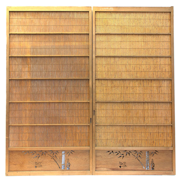 Pair of Sugi Yoshido Doors | Japanese Cedar and Bamboo Wooden Doors for Summer
