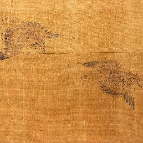 Edo Period Sumi-e Painted Doors (Pair) | Hand Painted Landscape with Birds | Sliding Doors | Architectural Decor