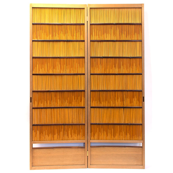 Connected pair of Sugi Yoshido Doors | Japanese Cedar and Bamboo Wooden Doors for Summer