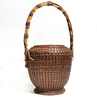 Large Meiji Era Japanese Antique Bamboo Ikebana Flower Basket