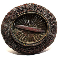 underside of moon basket with bamboo