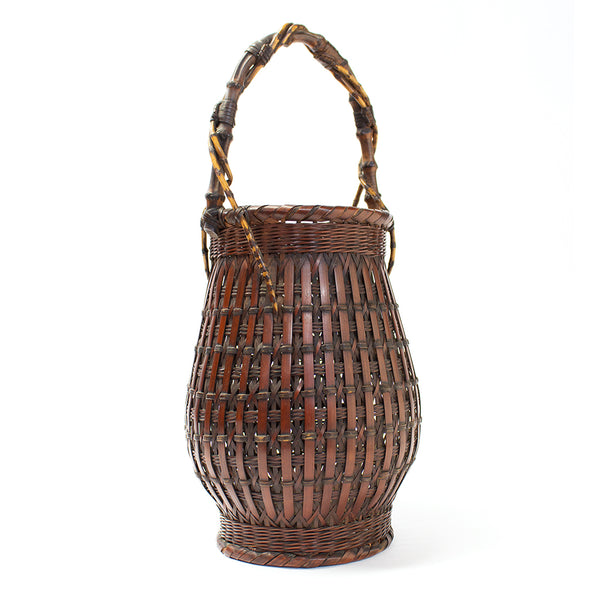 Slated Ikebana Basket with Bamboo Root Handle