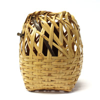 Signed Japanese Bamboo Ikebana Flower Wall Basket