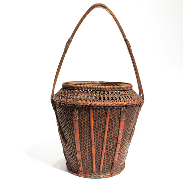 Beautifully Woven Japanese Antique Bamboo Ikebana Flower Basket