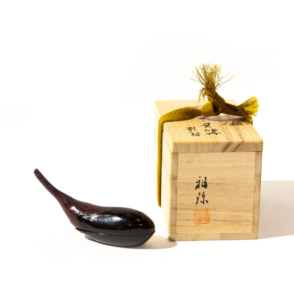 Eggplant Shaped Kogo Japanese Antique Incense Storage Containers