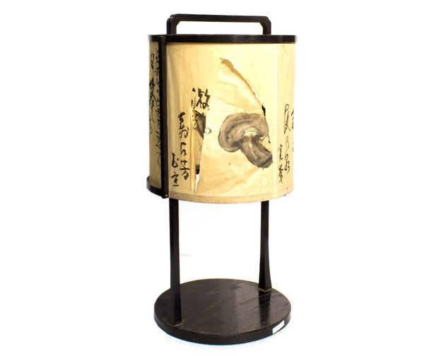 Andon Japanese Antique Decor Lamp Paper cylindrical lantern with mushroom drawing