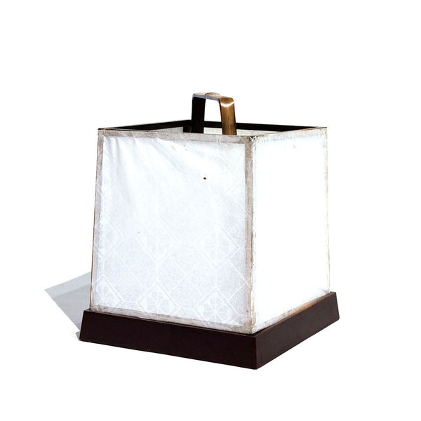 papered cube lantern with handle