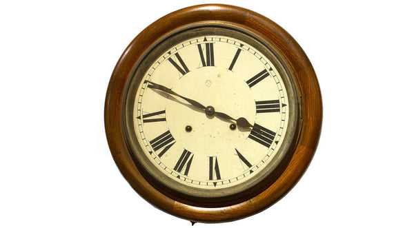 round brown clock with wheat face Beautiful Japanese Antique Wall Clock