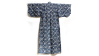 back of indigo kimono with gray pattern