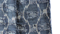 closeup of gray animal pattern of indigo kimono