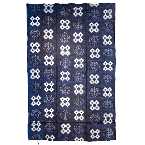 Japanese Antique (Early Taisho Era) Indigo Kasuri  Fabric | Indigo Resist Dyed Fabric | Geometric and Kiri (paulownia) Pattern
