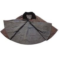Indigo Shima Cape with Velvet Collar
