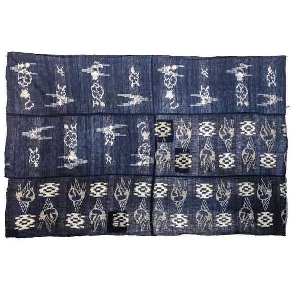 Japanese Antique (Early Taisho Era) Kasuri Indigo Futon Cover | 3 Panel Bed Cover, Duvet | Indigo, Resist Dye Cotton | Crane, Floral Motif