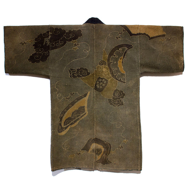 Hanten with Roof Tiles Japanese Antique Kimono Coat