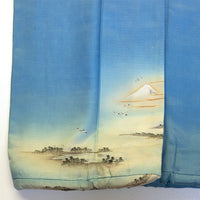 Japanese Antique Kimono with Mount Fuji Detail