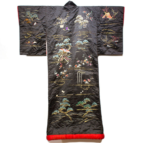 Back View | Japanese Antique Meiji Era (19th Century) Uchikake | Hand Embroidered Over Kimono| Black Red and Gold  Silk