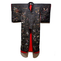 Front View | Japanese Antique Meiji Era (19th Century) Uchikake | Hand Embroidered Over Kimono| Black Red and Gold  Silk