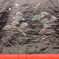 Detail | Japanese Antique Meiji Era (19th Century) Uchikake | Hand Embroidered Over Kimono| Black Red and Gold Silk
