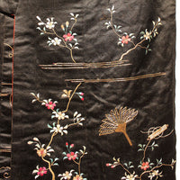 Japanese Antique Meiji Era (19th Century) Uchikake | Hand Embroidered Over Kimono | Black Red and Gold Silk