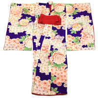Taisho Childs Kimono Purple with Floral Motif