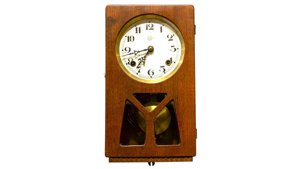clock in rectangular wooden body Beautiful Japanese Antique Wall Clock