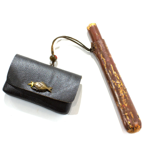 Tobacco Pouch with Cherry Bark Pipe Case
