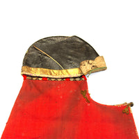 Samurai Leather Hat with Red Wool Drape