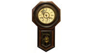 deep brown octagonal clock with pendulum projection