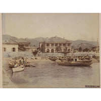 Hand-tinted Meiji Era Photograph | Bund of Kobe | Japanese Antique Photography | Albumin Photography | Japanese Decor