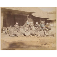 Hand-tinted Meiji Era Photograph | Rice Threshers | Japanese Antique Photography | Albumin Photography | Japanese Decor