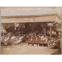 Hand-tinted Meiji Era Photograph | Fruit Stand | Japanese Antique Photography | Albumin Photography | Japanese Decor