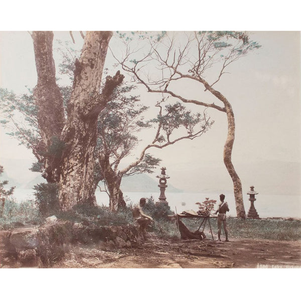 Framed Hand-tinted Meiji Era Photograph | Lake Hikone | Japanese Antique Photography | Albumin Photography | Japanese Decor