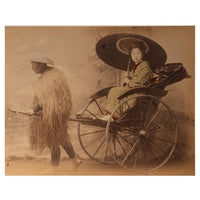Hand-tinted Meiji Era Photograph | Woman Riding in Jinrickshaw with Parasol | Japanese Antique Photography | Albumin Photography | Japanese Decor