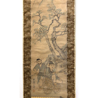 Japanese Art Ink Wash Painting on Scroll Scholar Mountains