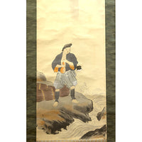 Japanese Art Painting on Scroll, Woodcutter by Waterfall