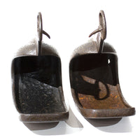 Japanese Antiques Abumi Pair of Stirrups with a Crab Motif