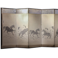 Japanese Antique Folding Screen Panel Byobu with Horses