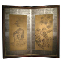 Japanese Antique Screen Panel Painting Wolf and Tiger Byobu