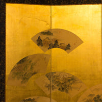 Japanese Antique Large Folding Screen Panel Byobu with Fans