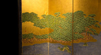 Pair of Byobu Large Japanese Antique Free-Standing Folding Screen