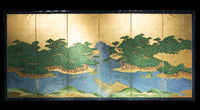 six panel screen with landscape and boat