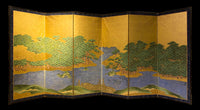 six panel hinged screen with landscape