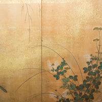 Japanese 4-Panel Hand Painted Flowering Plant and Tree Motif Screen