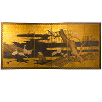 six panel gold leaf screen heron in water