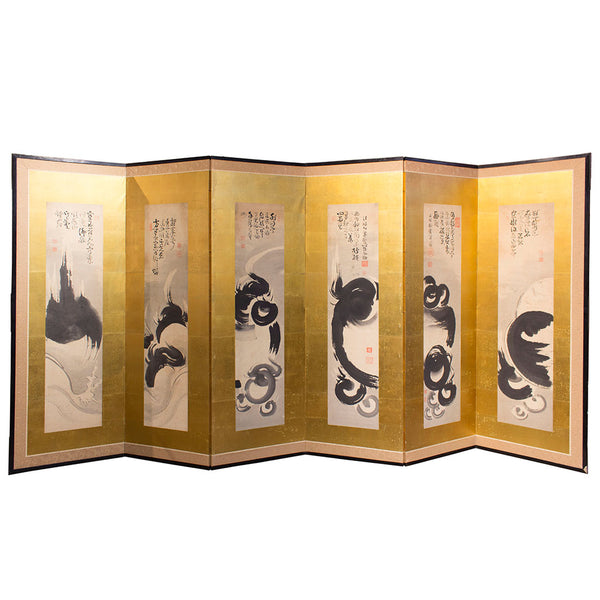six panel gold leaf zen screen Japanese antique furniture.