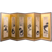six panel gold leaf zen screen