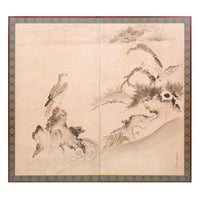Byobu - Japanese Antique Screen Painting of Hawks