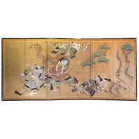 Japanese Antique Screen  6 Panel Byobu Samurai