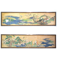 Stunning Pair Japanese Antique Folding Screen Byobu