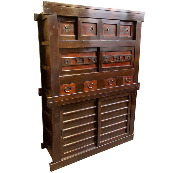 Front Angle View | Japanese Antique (Meiji Era) Mizuya from Kyoto | Kitchen Chest, Cabinet, Storage, Furniture | 4' Width, 2 Section | Sugi (Japanese cedar), Keyaki (Japanese elm), Cast Iron
